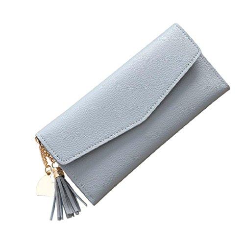 463c126dc0660 Rovinci Frauen einfache Handtasche lange Brieftasche Quaste Geldbörse  Kartenhalter (rot) Blau nrL3Qt
