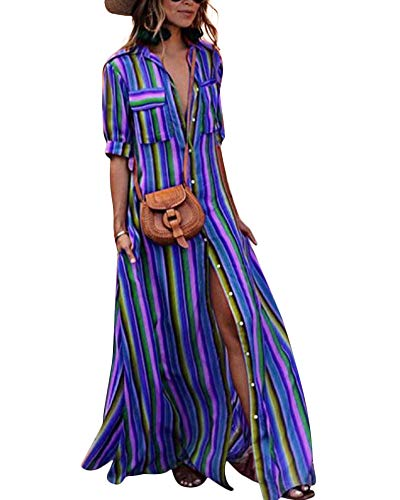 Striped Down Sleeve Dress Women Casual Rainbow Blue Half Dress Maxi for Button 7wq78TS