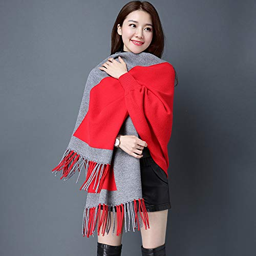 Red JINGB Home Autumn and Winter Shawl Scarf Dualuse Ladies Jacket with Sleeves Knit Cloak bat Sleeve Cloak (color   Yellow)