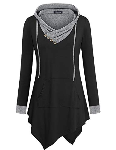 Miagooo Pullover Hoodie Women, Cotton Tunic Cute V Neck Long Sleeve Hood with Drawstring Light Top Cozy Swing Bottom Slimming Fit Daily Ladies Knit Tops(X-Large, Black Grey)