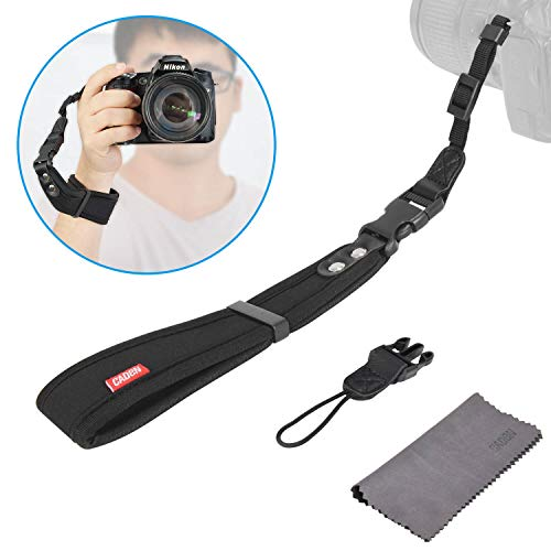 CADeN Camera Hand Wrist Strap w/ 2 Alternate Connections for Large DSLR or Point & Shoot Cameras Adjustable Safety Strap Black