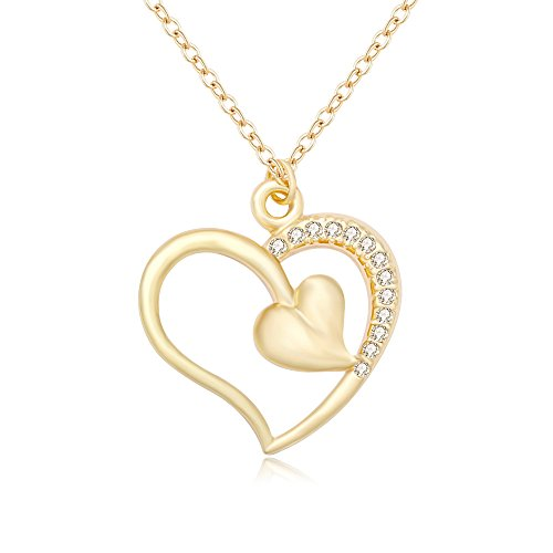 TUSHUO Hollow Heart with Solid Heart Pendent Forever Love Rhinestone Necklace,Adjustable Chain 18