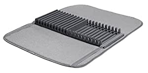 Umbra UDRY Dish Drying Rack and Microfiber Dish Mat - Space-Saving Lightweight Design Folds Up For Easy Storage, 24 x 18 inches, Charcoal