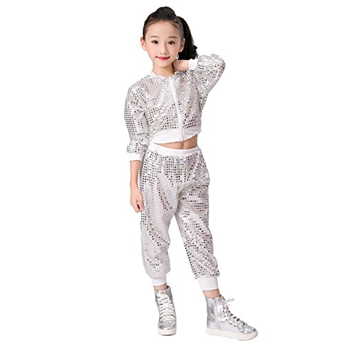 Children Girls Sequins Hip hop Costume Street Dance Clothing Set White ()