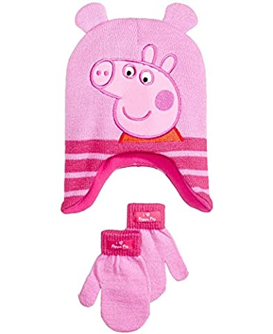 Peppa Pig Hat and Gloves for Toddler Girls 2 Piece Set - Pink Pig Hat