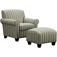 Portfolio Mira Summer Aqua Blue Stripe Living Room Comfortable Arm Chair and Ottoman