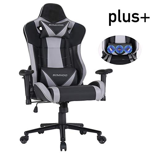 SIMHOO Gaming Chair High-Back Computer Chair Ergonomic Backrest and Seat Height Adjustment Recliner Swivel Rocker with Headrest and Lumbar Pillow Massage Extra Large E-Sports Chair Gray Uncategorized
