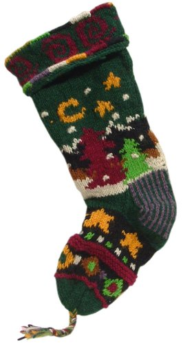 Handknit Wool Christmas Stockings (Green Mountain Scene)