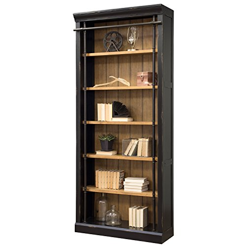Martin Furniture IMTE4094 Fully Assembled Aged Ebony Toulouse Bookcase, (Library Shelves With Ladder)