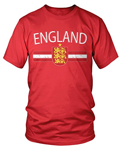 Amdesco Men's England Flag Colors and Lion Crest T-Shirt, Red 2XL