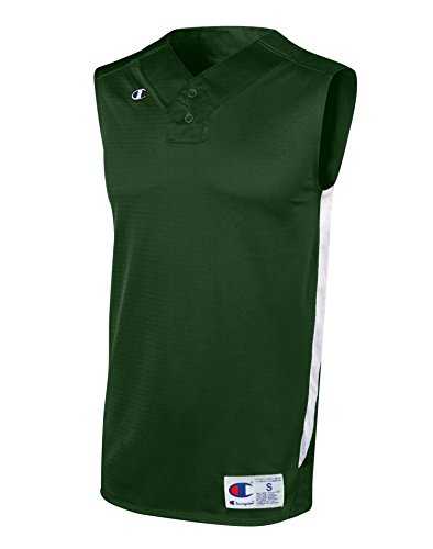 Champion Men's and Youth Prospect Baseball Double Dry® Sleeveless Henley Jersey, YL-Athletic Dark Green/White ()
