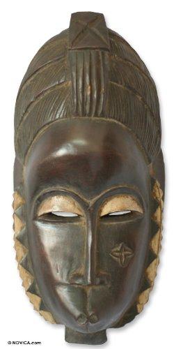 NOVICA Decorative Large Sese Wood Mask, Brown 'Female Baule Fertility Mask'