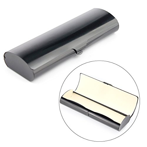 Aluminum Eyeglasses Case, EZESO Ultralight Smooth Spectacles For Small Frames (Black)