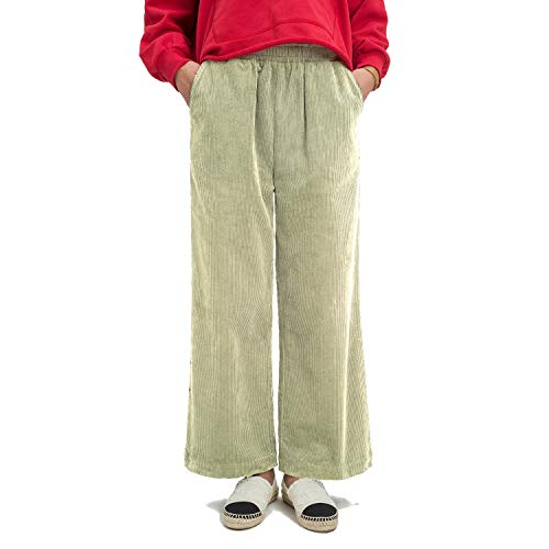 Ecupper Womens Casual Loose Plus Size Elastic Waist Cotton Trouser Cropped Wide Leg Pants Corduroy Beige 20W