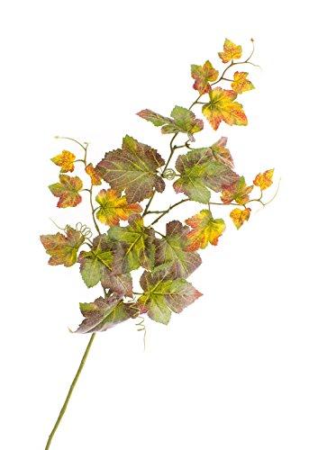 Künstlicher Traubenblatt Zweig NOAH, 22 Blätter, grün-rot, 75 cm - Kunst Zweig / künstlicher Traubenzweig
