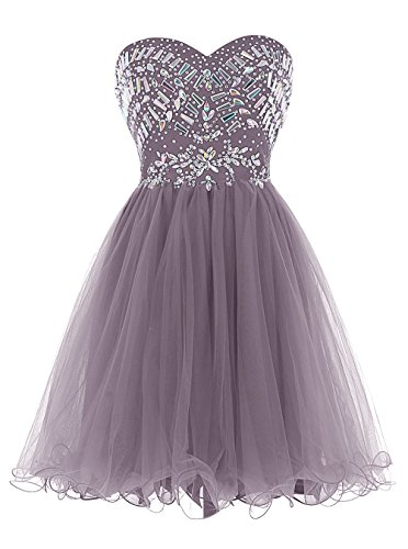 ALAGIRLS Strapless Beading Homecoming Dress Short Tulle Prom Dress Lavender 2