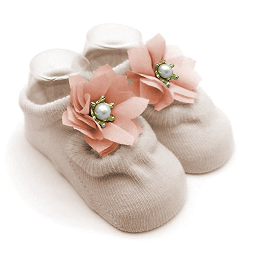 Cozy Cotton Flower Pearl Bowknot Lace Jane Socks with Grip for Newborn Infant Baby Girl 6-12 months Leekey 3 Pack