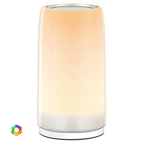 Table Lamp, PREKIAR LED Touch Bedside Lamp Nightstand Lamp Night Lights, 6W Desk Lamps Dimmable 2900K-3100K Color Changing RGB for Bedrooms, Living Rooms and Office