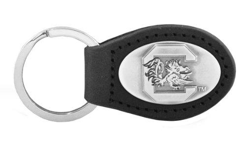 South Carolina Black Leather - NCAA South Carolina Fighting Gamecocks Black Leather Concho Key Fob, One Size