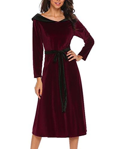 ecac38232a70 Meaneor Damen Elegant Retro Vintage Kleid Abendkleid Samtkleid  Cocktailkleid Maxikleid Festlich Lang 3 4 Arm