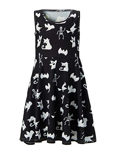 Funnycokid Skater Dress Halloween Skeleton Printing Twirly Dresses for Little Girls -