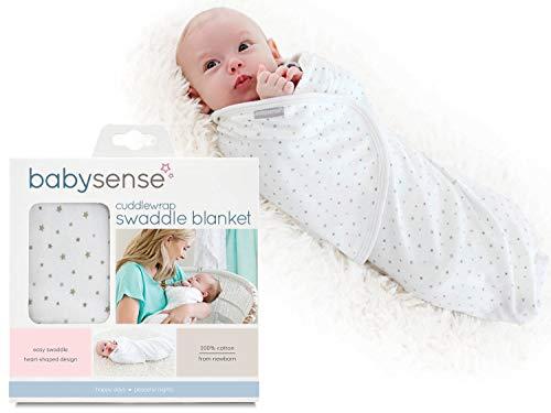 Baby Sense Cuddlewrap Swaddle Blanket/Award-Winning Baby Wrap | Stretchy & Safe 100% Premium Cotton + Breathable Fabrics for Sleep, Body Temperature, Feeding, Calming (Stone)