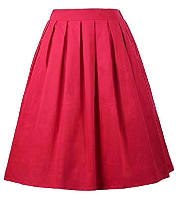 GRACE KARIN Women Vintage Pleated Floral Swing Party Skirt