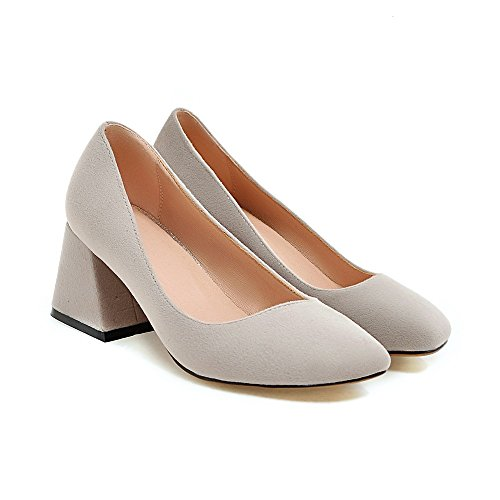 Shoes Solid toe AIWEIYi Ladies Grey High Thick Square Pump Platform Color Woman Shoes Heels qFwgB4xX