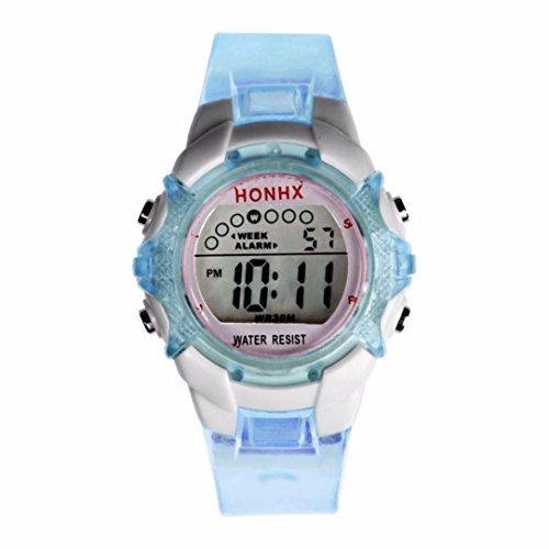 (Gbell Girls Digital Sports Watch -LED Quartz Waterproof Wrist Watch with Alarm ,Date, Luminous Display - Pink Purple Blue Green (Blue))
