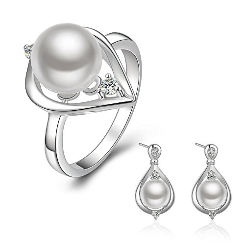 Pmany Vintage Waterdrop Shaped 925 Sterling Silver Plated Pearl Pendant Necklace Ring Earring Jewelry Set Gift (Ring+Earrings)