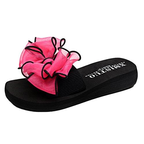YOUJIA Mujer Boho Flores Zapatillas Verano Playa Plataforma Zapatos de cuña Chanclas #1 Rose