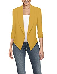 Hybrid & Company Womens Casual Work Office Open Front Blazer JK1133X Mustard 3X