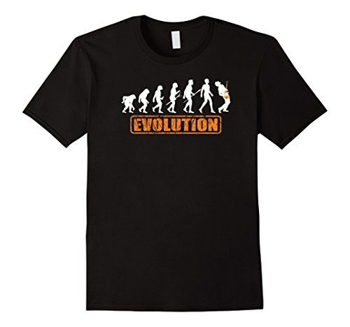 Men's Funny Guitar Player Evolution T-shirt by Zany Brainy, band Large Black