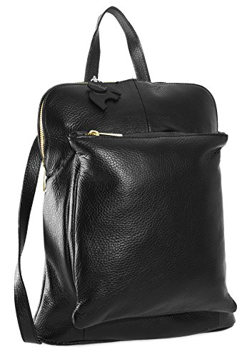 Big Handbag Shop Womens Genuine Leather Medium Convertible Backpack Shoulder Bag (Black)