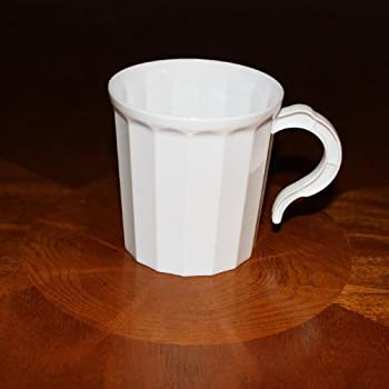 Box of 96 - White Plastic Coffee Mug Disposable / Reuseable Drinking Cup with Handle