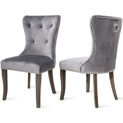 Victorian Dining Chairs Button Tufted Armless Velvet Upholstered Accent Chair, Nailhead Trim, Chair Ring Pull Set of 2 Grey