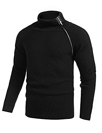 COOFANDY Men's Turtleneck Sweater Ribbed Relaxed Fit Pullover ...