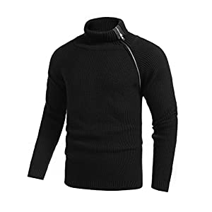 COOFANDY Men's Spring Turtleneck Sweater Ribbed Relaxed Fit Pullover Raglan Knitted Zipper Overcoat(Seasonal Sale)