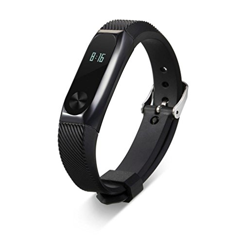 Price comparison product image Teresamoon Watch Band Strap Silicon Band Metal Case Band Strap For Xiaomi Mi Band 2 (Black)