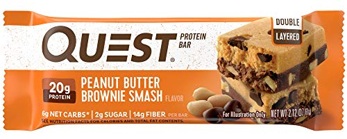 Quest Nutrition Peanut Butter Brownie Smash Protein Bar, High Protein, Low Carb, Gluten Free, Soy Free, Keto Friendly, 12 ()