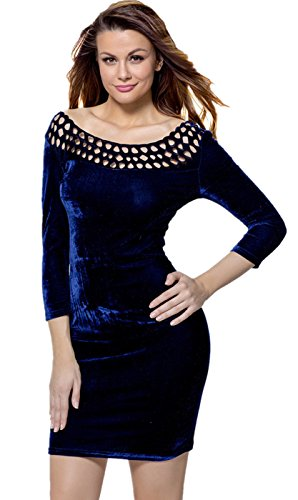 SZIVYSHI Sexy 3/4-Arm 3/4-Ärmeln Aushöhlen Slash Neck Velvet Minikleid Bodycon Etui Etuikleid Figurbetontes Dress Kleid Dunkelblau FqrO2wmo