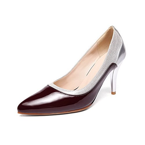 Pumps Pull High Zehe Frauen On Schuhe VogueZone009 sortierte Heels Farbe Spitze Claret geschlossene PU CPZYqw