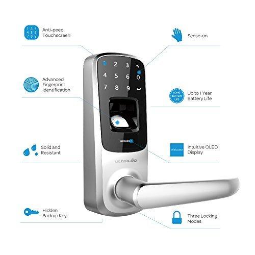 3 Pack Ultraloq UL3 Fingerprint and Touchscreen Keyless Smart Lever Door Lock (Satin Nickel)