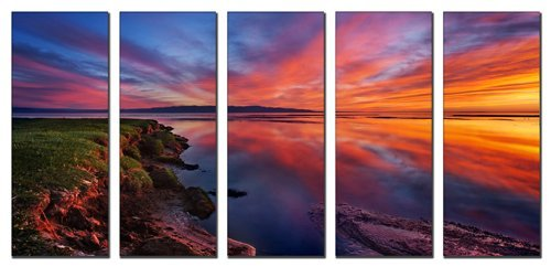 Sunset beach print on canvas, beach canvas prints, seascape canvas designs, framed 5 panel print, sunset beach wall art by Vibrant Canvas Prints