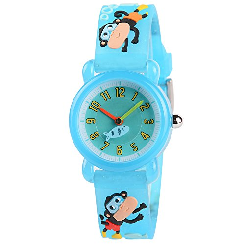 Venhoo Kids Watches Cartoon Waterproof Silicone Children Wristwatches Time Teacher Gifts for Boys (Blink Swim Monkey)