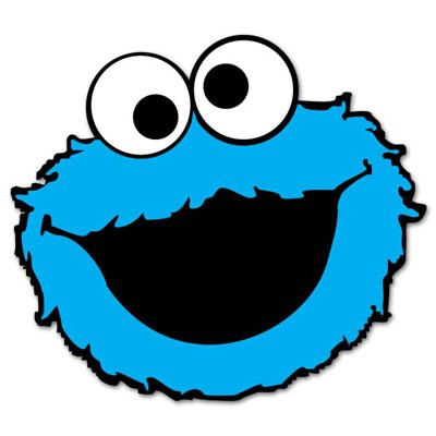 "Cookie Monster Sesame Street vynil car sticker 5"" x 4"""