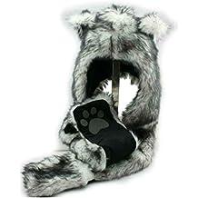 HatButik. White Wolf Anime Spirit Paws Ears Faux Animal Hood Hoods Mittens Gloves Scarf Zipper