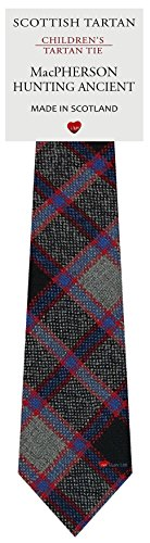 Boys Clan Tie All Wool Woven in Scotland MacPherson Hunting Ancient Tartan