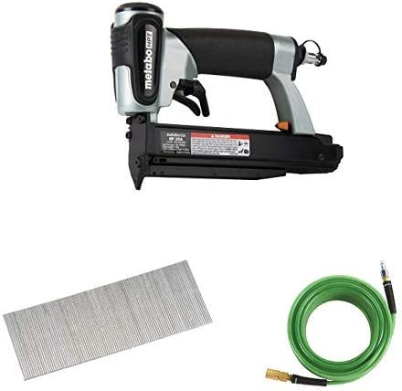 Metabo HPT NP35A Pin Nailer with Metabo HPT 23002SHPT Micro Pin Nails, 1 x 23 Gauge, and Metabo HPT 115155M Air Nailer Hose