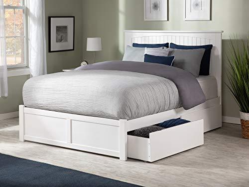 Atlantic Furniture AR8242112 Nantucket Platform 2 Urban Bed Drawers, Queen, White